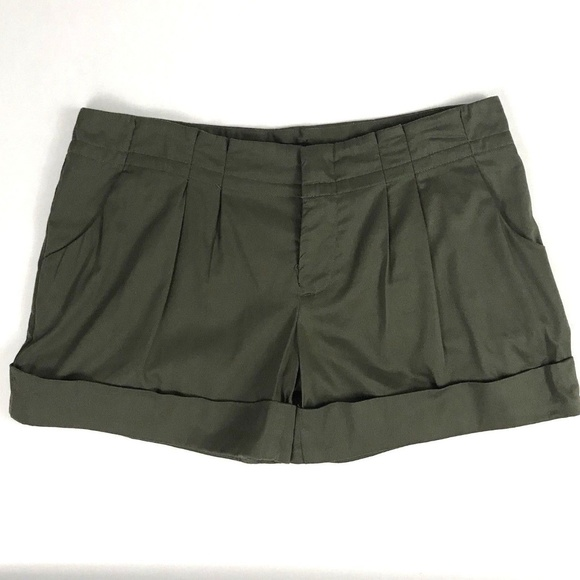 Womens Mossimo Size 2 Stretch Cuffed Olive Green Shorts Women's Clothing Shorts